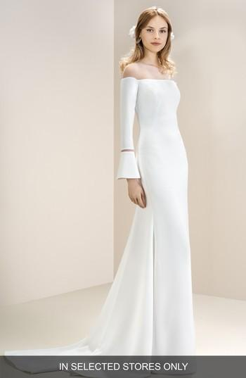 Wedding - Jesús Peiró Off the Shoulder Illusion Neck Bell Sleeve Gown