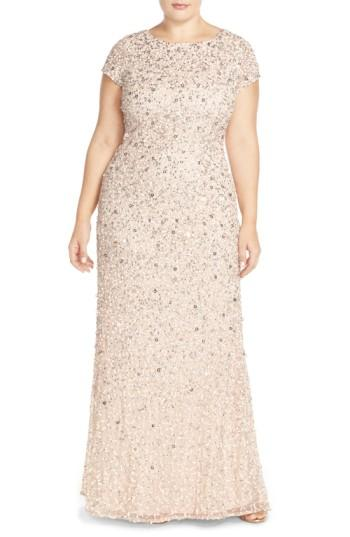 Wedding - Adrianna Papell Embellished Scoop Back Gown (Plus Size)