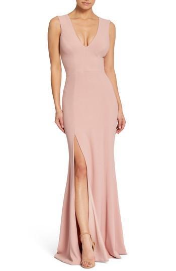 Wedding - Dress the Population Sandra Plunge Crepe Trumpet Gown