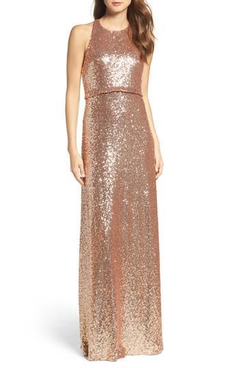 Hochzeit - Jenny Yoo Sloane Sequin Halter Gown