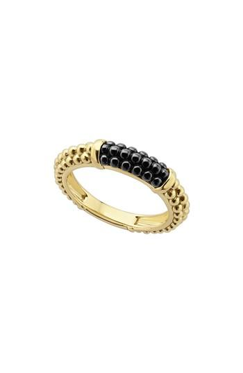Mariage - LAGOS Gold & Black Caviar Stacking Ring
