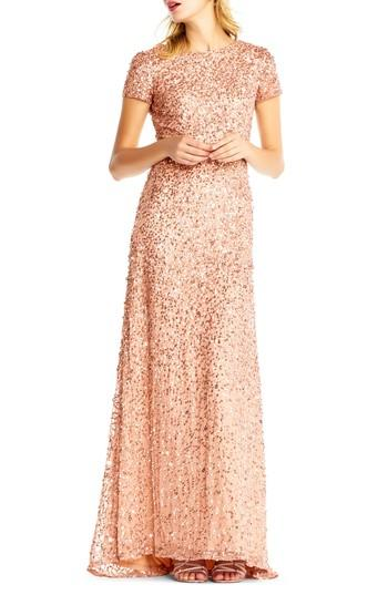 Wedding - Adrianna Papell Short Sleeve Sequin Mesh Gown (Regular & Petite)