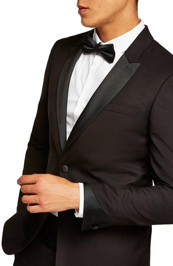 Wedding - Topman Skinny Fit Satin Lapel Tuxedo Jacket