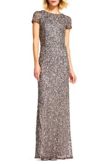 Wedding - Adrianna Papell Short Sleeve Sequin Mesh Gown (Regular & Petite)