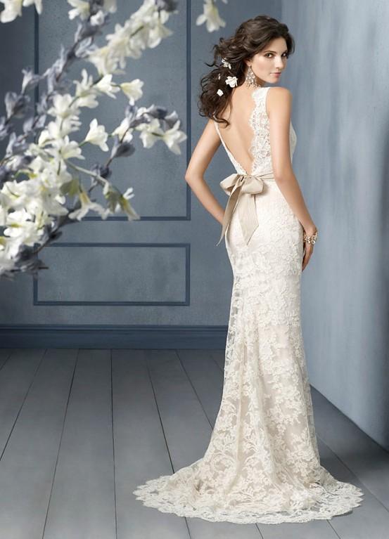 Jim Hjelm Bridal Collection Lace V Back Wedding Dress