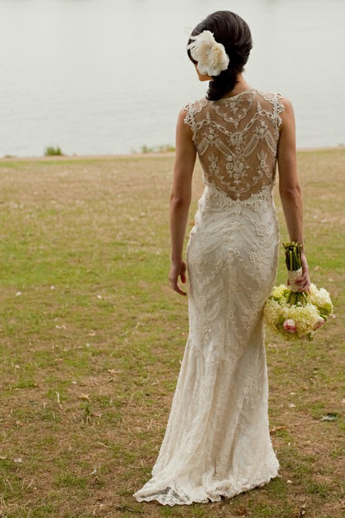 Wedding - Claire Pettibone Ivory Lace Mermaid Wedding Gown With Illusion Back