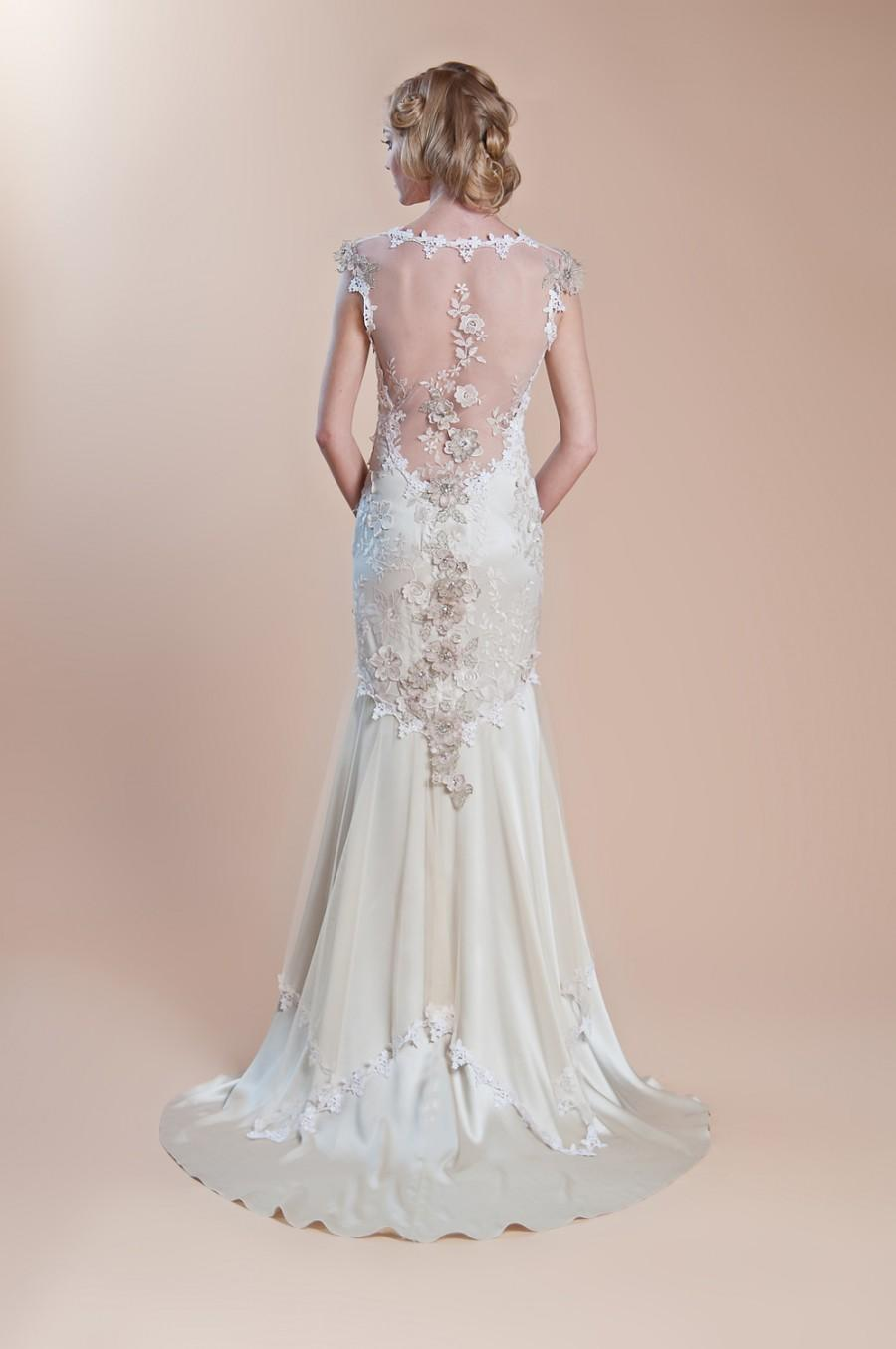 Embroidered illusion back gown claire pettibone silk for Wedding dress illusion back