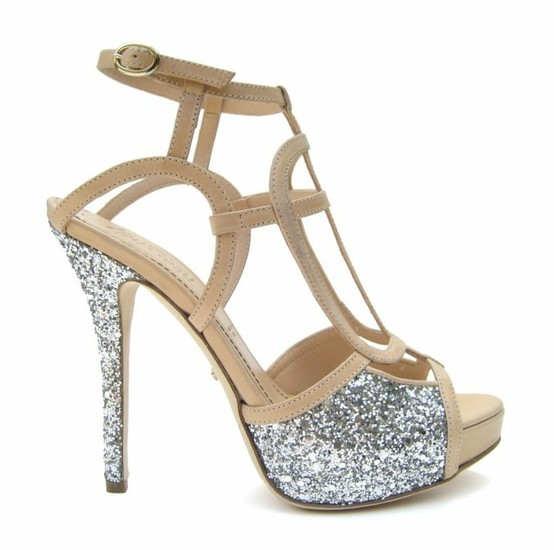 nude silver sparkly wedding shoes platform special design bridal shoes