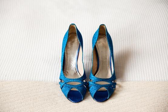 Hochzeit - Blau Sparkly Brautschuhe ♥ Glitter Brautschuhe