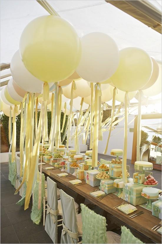 Wedding bridal shower tea party or birthday party for Balloon decoration ideas for weddings