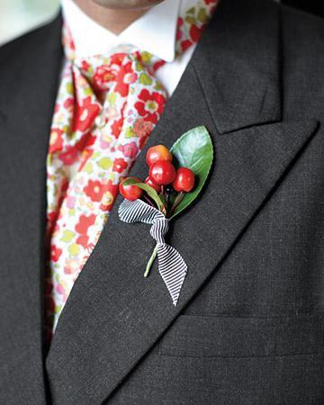 Свадьба - Cherry бутоньерка для жениха