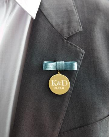 Wedding - Personalized Boutonniere  for Groom