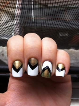 Chevron Nail Design One Nail Different Color Trend 888685 Weddbook