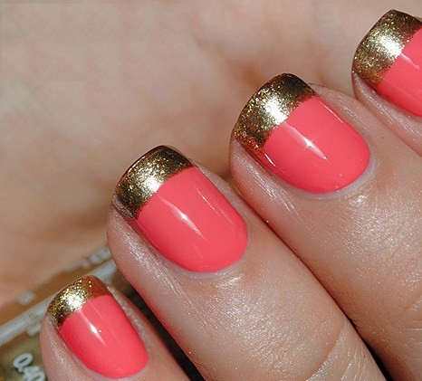 Wedding - Coral & Gold Striping Tape French Manicure