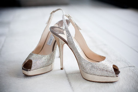 Wedding - Silver Sparkly Wedding Shoes ♥ Jimmy Choo Bridal Shoes Collection