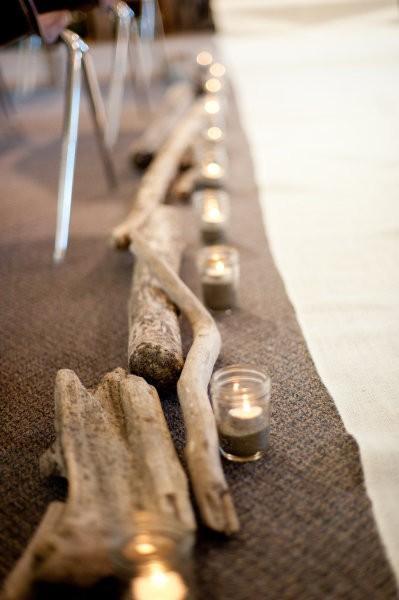 Свадьба - Деревенском стиле прохода Свадебная со свечами и дерева Стамп