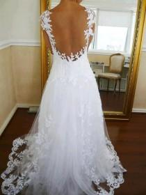 wedding photo - White Embroidered Backless Wedding Dress by Maison Kas