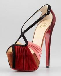 wedding photo -  Christian Louboutin Wedding Shoes with Red Bottom  Vintage Wedding High Heel | Bordo Suet Topuklu Ayakkabi