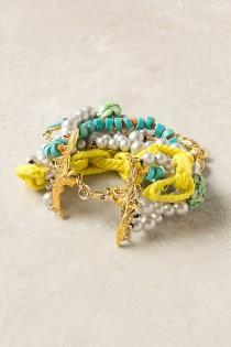 wedding photo -  Handmade Turquoise & Yellow Bracelet with Pearls