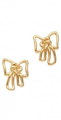wedding photo -  Metal Bow Stud Earrings