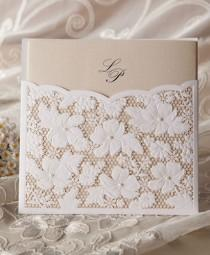 wedding photo - Cheap Flower Lace Pocket Card Wedding Invitation
