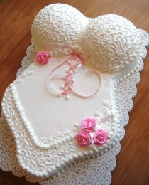 wedding photo -  Sexy Bridal Shower Cake Ideas ♥ Lovely White Lingerie Bachelorette Cake | Bekarliga Veda Gecesi Pastalari ♥ Seksi Kina Gecesi Pastalari