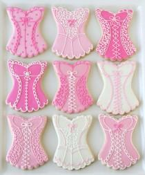 wedding photo - Rosa Biancheria e Cookies Lingerie ♥ Bachelorette Cookie di terzi