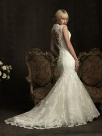 wedding photo - Elegant Lace Mermaid Wedding Dress ♥ Ivory Lace Open Back Gown by Allure Bridals