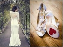 wedding photo - Valentinstag Brautkleid und Schuhe Idea ♥ Lace Heart Open Back Wedding Dress ♥ Brautschuhe Sticker