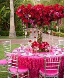 wedding photo - Hot Pink Garden Wedding Decors ♥ Red Roses and Diamond Garland Acrylic Crystal Beads Wedding Centerpiece