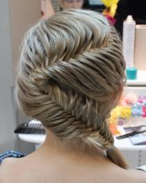wedding photo -  Fish Tail Braid Wedding Hairstyles ♥ Gorgeous German Braid Wedding Hairstyles
