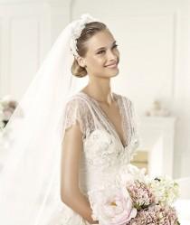 wedding photo - Pronovias Elie Saab 2013 Bridal Collection ♥ White Lace V Neckline Wedding Dress