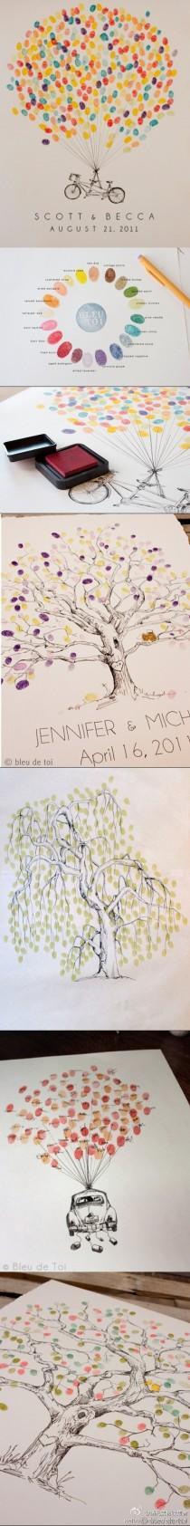 wedding photo - Creative Wedding Fingerprint Tree Alternative Wedding Guestbook Ideas