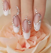 wedding photo - Unique and Creative French Manicure Wedding Nail Design With Crystal Rhinestone Sticker