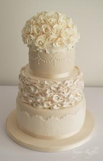 Ivory Champagne Wedding Cake