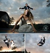 wedding photo - Creative Wedding Photo Idea: Trampoline