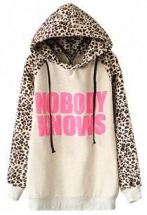 wedding photo - Light Grey NOBODY KNOWS Print Hooded Leopard Sweatshirt - Sheinside.com