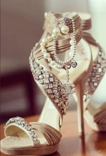 wedding photo - Sophisticated ivory wedding sandals by Chanel