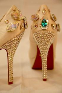 wedding photo - Sparkly light brown wedding shoes decorated with gemstones