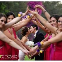 wedding photo - The beautiful wedding couple and the bridesmaids