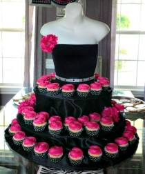 wedding photo - Black couture cupcake stand with pink roses