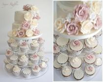 wedding photo - Multistory wedding tower with pink and yellow cake