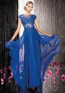 wedding photo - 2014 Blaue Spitze langen Chiffon-Abendkleid-formales Abschlussball-Cocktail-Party-Kleid