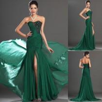 wedding photo - 2014 vestido elegante de noche formal Nuevo vestido largo vestidos de bola rebordeado sirena