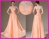 wedding photo - Invitado a la Fiesta de la boda vestido de noche largo Transparente vestido de dama del Applique del cordón
