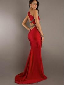 wedding photo - One Shoulder Beaded Red Floor Length Evening Dress Party Prom Bridesmaid Dresses