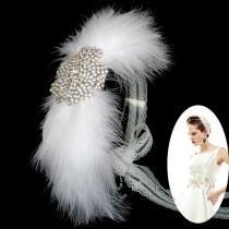 wedding photo - Big Cercle strass bandeau mariée mariage Wing Grande Plume casque