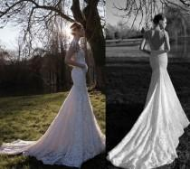 wedding photo - Sexy lace backless mermaid style wedding gown