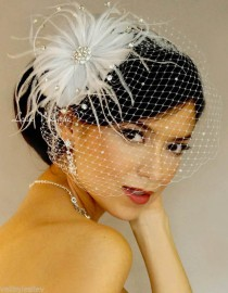 wedding photo - أبيض حجر الراين دبوس الزينة FASCINATOR وحجر الراين قفص العصافير الحجاب الزفاف الحجاب 27-31