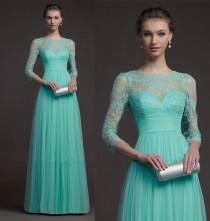wedding photo - New Custom Jewel Chiffon Langarm-formale Abend-Hochzeits-Kleid-Abschlussball-Kleid 2014